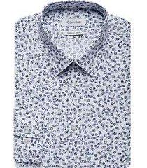 calvin klein white & blue floral extreme slim fit dress shirt