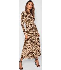 leopard print knot front jumpsuit, brown
