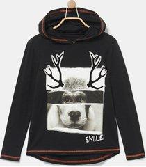cotton hooded sweatshirt - black - 3/4