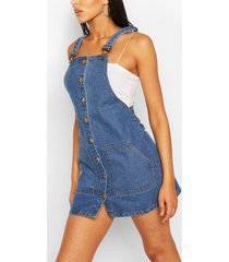 tall denim button through pinafore dress, mid blue