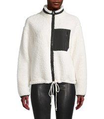 rd style women's faux fur fleece jacket - black - size l