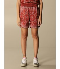 golden goose short golden goose silk shorts with bandana print
