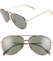 women's celine 61mm aviator sunglasses - gold/ green
