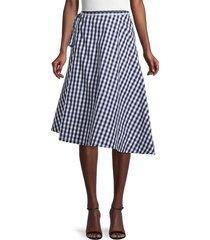 mansur gavriel women's gingham oversized wrap skirt - blue - size 40 (4)