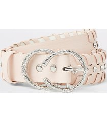 river island girls pink diamante whip stitch belt