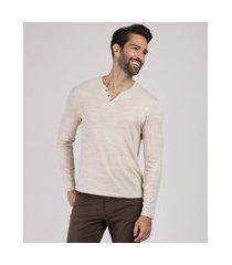 suéter masculino em tricô gola portuguesa bege
