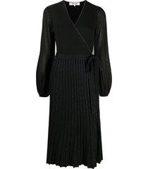 dvf diane von furstenberg shelley merino-wool wrap dress - black