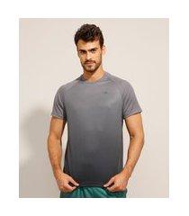 camiseta raglan esportiva ace manga curta gola careca cinza