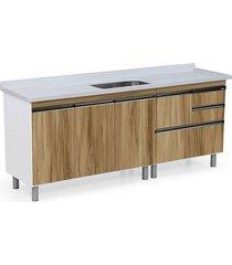 gabinete para cozinha 200cm mdp 15mm coliseu nogal sevilha 195,1x69,5x49,5cm - rorato - rorato