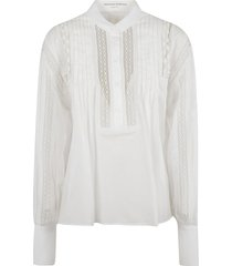 ermanno scervino round collar pleated shirt