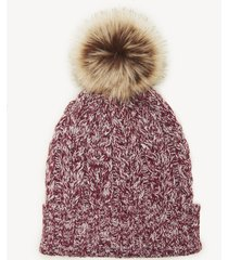 women's waffle knit beanie hat with pom detail oxblood one size acrylic from sole society