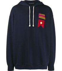 acne studios flag-patch oversized hoodie - blue