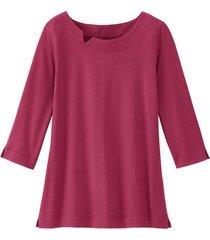 shirt van bio-katoen met kraagbies, bessenrood 38