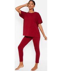 basic t-shirt en zachte jersey leggings pyjama set, berry
