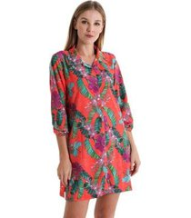 camisão com botão exotic - estampa exotic - feminino - feminino