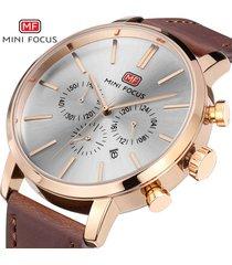 reloj para hombre/correa de piel/ mini focus / 0023g / reloj-marrón