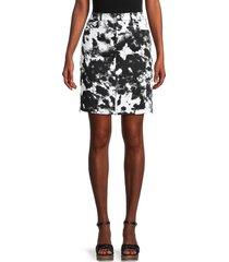 karl lagerfeld paris women's tie-dye denim skirt - black - size 8