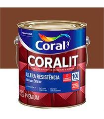 tinta esmalte sintético premium brilhante coralit tradicional tabaco 3,6 litros