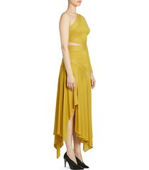 one-shoulder side cutout gown