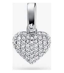 mk ciondolo a forma di cuore in argento sterling con placcatura in metallo prezioso e pavé - argento (argento) - michael kors