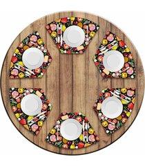 jogo americano para mesa redonda wevans premium pizza kit com 6 pçs love decor
