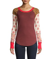 bright side thermal patchwork pullover