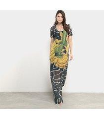 vestido longo carmim girassol manga curta