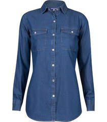 camisa en denim manga larga lavado básico para mujer freedom 01022