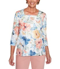 alfred dunner petite pearls of wisdom 2019 floral-print square-neck top