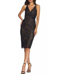 women's dress the population fiona metallic lace cocktail dress