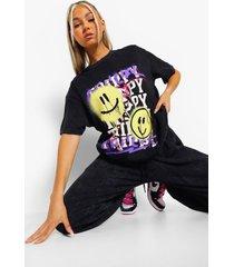 tall acid wash gebleekt graffiti smiley t-shirt, charcoal