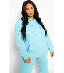 plus basic oversized hoodie, turquoise