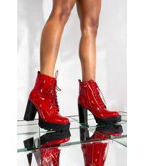 akira azalea wang chunky heel lace up bootie