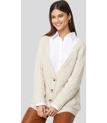 na-kd button up chunky cardigan - beige