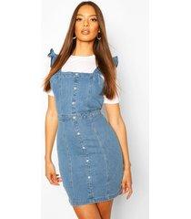 ruffle strap button denim dress, mid blue