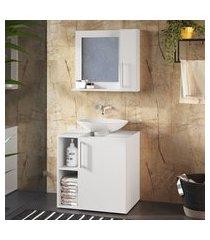 conjunto gabinete + espelheira para banheiro 2 portas criando mobilia
