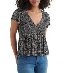 women's lucky brand smocked babydoll top, size medium - black