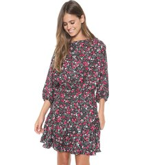 vestido my favorite thing(s) curto recorte preto/rosa
