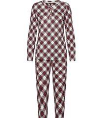 lrl l/s henley top jogger pant pj set pyjama rood lauren ralph lauren homewear