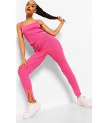 geribbelde gebreide set met leggings, hot pink