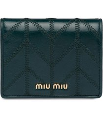 miu miu logo-plaque folding wallet - blue