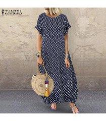 zanzea verano de las mujeres del lunar de vestido largo holgados kaftan vestidos maxi floja ocasional -azul marino