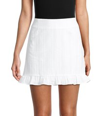 bb dakota women's ruffled cotton mini skirt - optic white - size 8