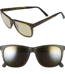maui jim tail slide 53mm polarized sunglasses in matte green stripe at nordstrom