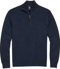 jos. a. bank traveler men's navy modern fit 1/4 zip pima cotton sweater - size: small
