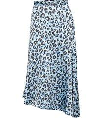 2nd lova leopard knälång kjol blå 2ndday