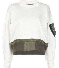 mock neck contrast sweater