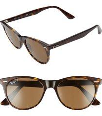 men's ray-ban 52mm polarized square sunglasses - striped havana