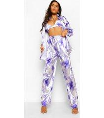 satijnen tie dye wide leg broek, lilac