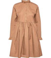 slfallys ls short dress ex kort klänning brun selected femme